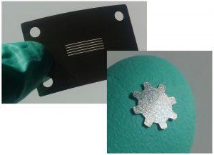 Laserschneiden von Schattenmasken, Gitterblenden und Mikromechanik; Zahnrad