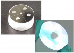 Silberspiegel mit Fadenkreuz und strukturierten Logo, Gobo mit Logo
