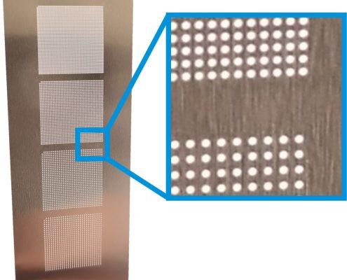 Laserbohren von Metallfolie (Nickel): Bohrdurchmesser 200 µm bis 100 µm